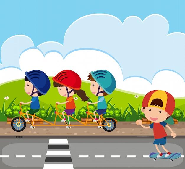 Cena de fundo com crianças andando de bicicleta na estrada