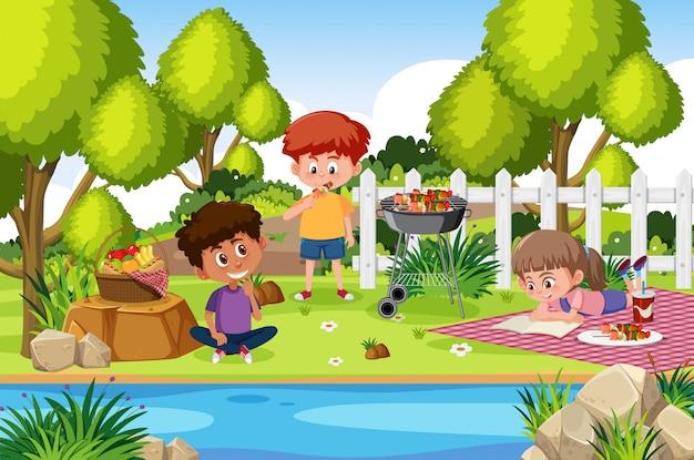 Cena de fundo com crianças comendo no parque