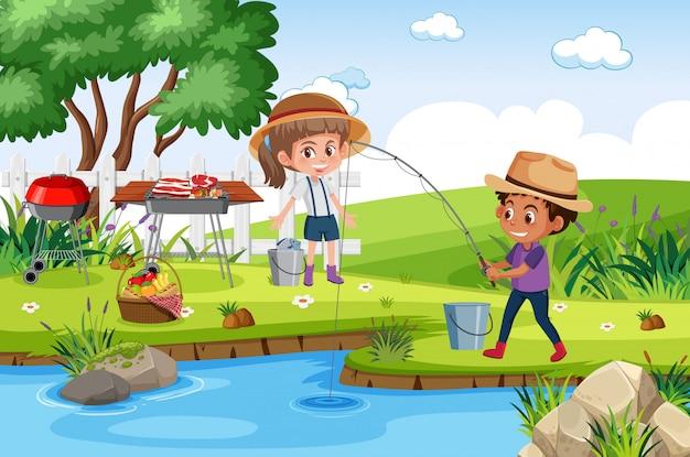 Cena de fundo com crianças pescando no parque