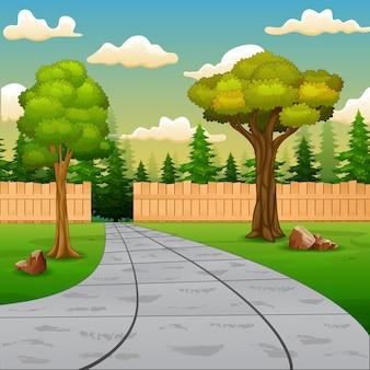 Cena de fundo com estrada e cerca de madeira na natureza verde