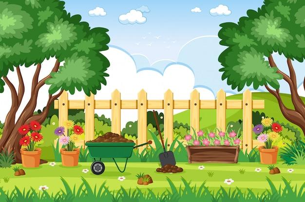Cena de fundo com ferramentas de jardinagem no parque