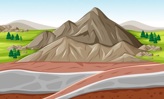 Cena de fundo com grande montanha e camadas subterrâneas