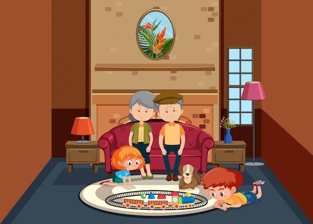Cena de fundo com idosos e crianças em casa