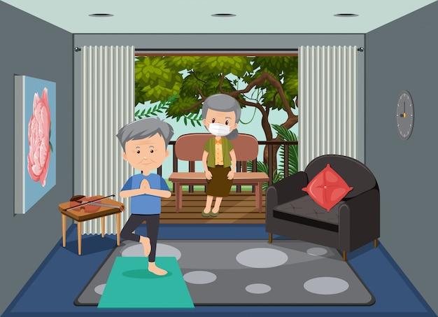 Cena de fundo com idosos ficando em casa