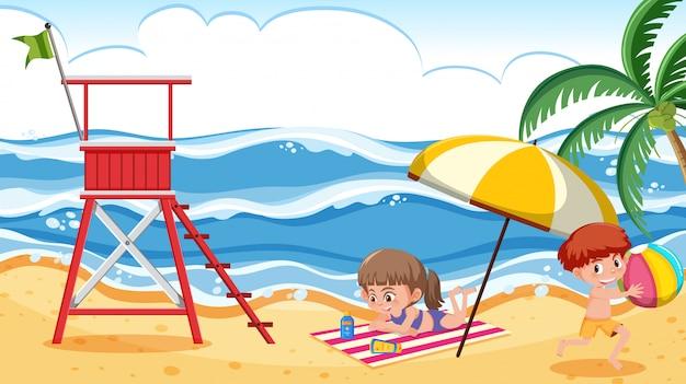 Cena de fundo com menino e menina na praia