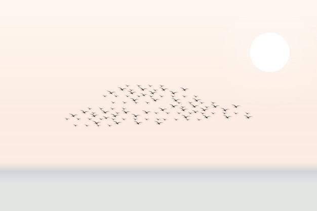 Cena de fundo com muitos pássaros no céu