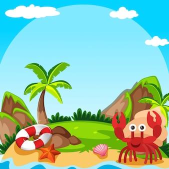 Cena de fundo com o caranguejo eremita na ilha