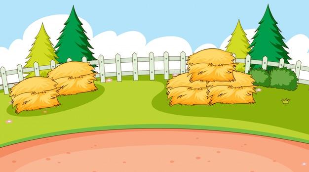 Cena de fundo com pilha de fenos no campo
