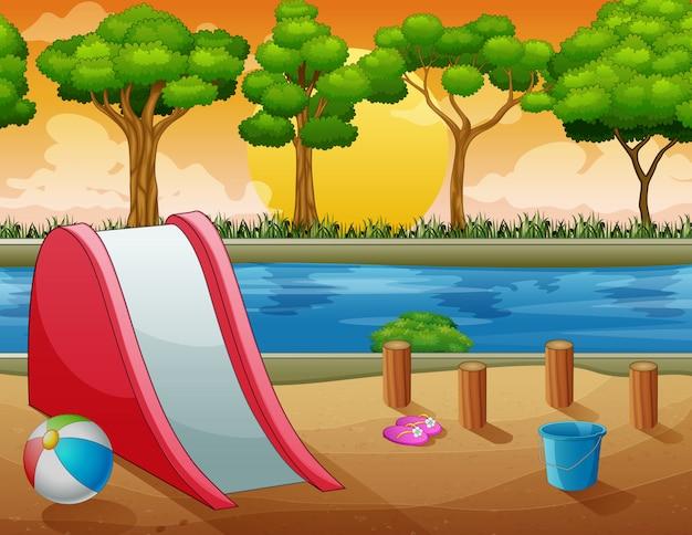 Cena de fundo com playground na beira do rio