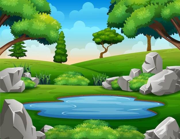 Cena de fundo com poço de água no meio da natureza