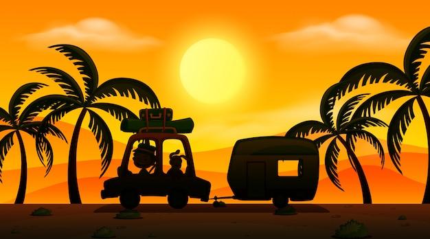 Cena de fundo com pôr do sol e silhueta carro no chão