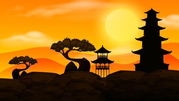 Cena de fundo com pôr do sol e silhueta templos asiáticos