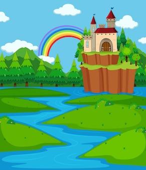 Cena de fundo com torres de castelo e rio