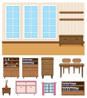 Cena de fundo da sala vazia com conjunto de móveis em fundo branco