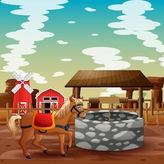 Cena de fundo de uma fazenda com um cavalo perto do poço