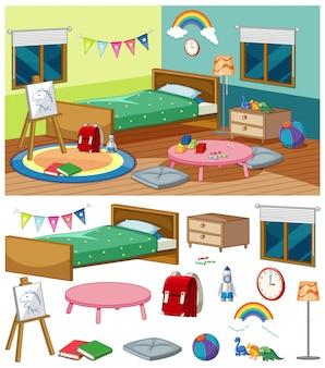 Cena de fundo do quarto com muitos móveis