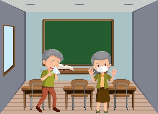 Cena de fundo duas pessoas doentes em sala de aula