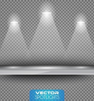 Cena de holofotes com diferente fonte de luzes apontando para a prateleira