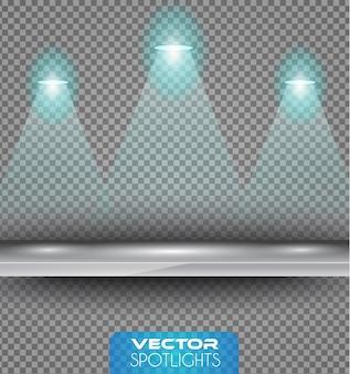 Cena de holofotes com diferentes fontes de luzes apontando para o chão ou prateleira.