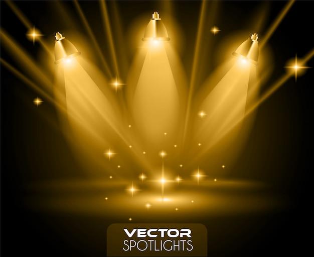 Cena de holofotes de vetor com uma fonte diferente de luzes apontando para o chão