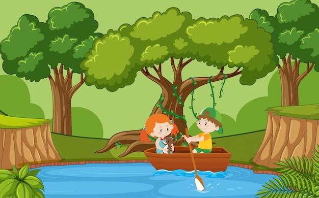 Cena de ilustração com menino e menina em barco a remo