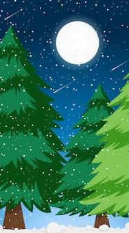 Cena de ilustração com neve do inverno na floresta de pinheiros