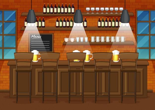 Cena de ilustração de pub e restaurante