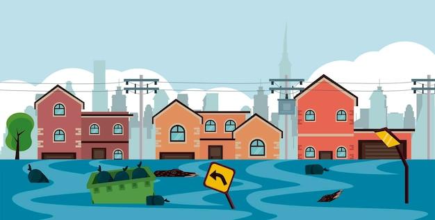 Cena de inundação da paisagem urbana
