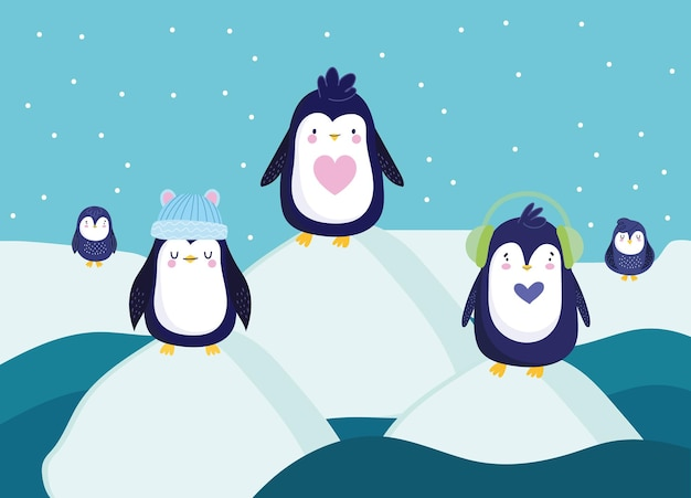 Cena de inverno de pinguins de bloco de gelo