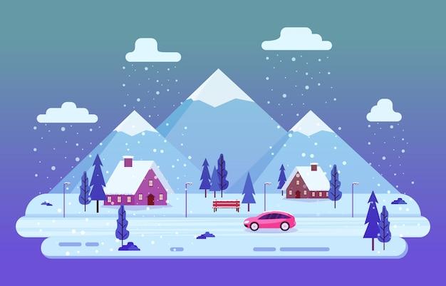 Cena de inverno neve paisagem com pinheiros montanha ilustração simples