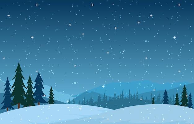 Cena de inverno neve paisagem com pinheiros montanha