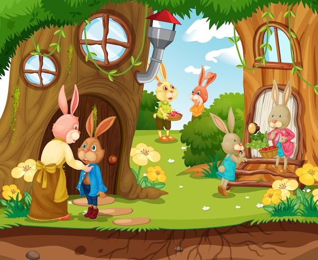 Cena de jardim com personagem de desenho animado de uma família de coelho