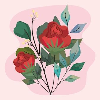 Cena de jardim de flores vermelhas