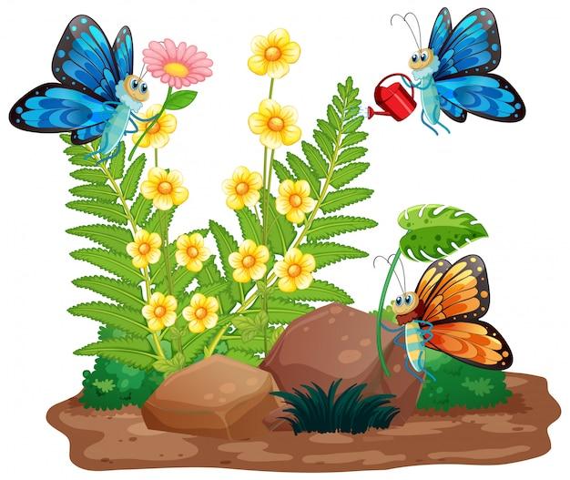 Cena de jardinagem com borboletas voando