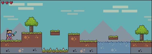 Cena de jogo de pixel art com grama, árvores, céu, nuvens, personagem masculino