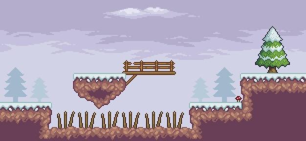 Cena de jogo de pixel art na neve com plataforma flutuante, ponte de pinheiros, nuvens e fundo de 8 bits