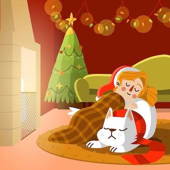 Cena de lareira de natal com cachorro e menina dormindo