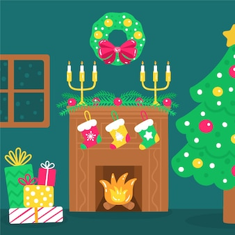 Cena de lareira de natal com meias e presentes