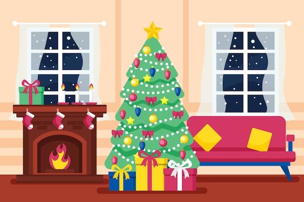 Cena de lareira de natal na sala de estar com árvore