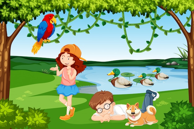 Cena de madeira de crianças e animais