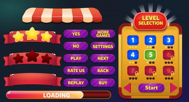 Cena de menu de jogo de seleção de nível com botões de jogo, barra de carregamento e ganhar perder estrelas