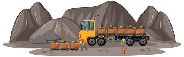 Cena de mineração de carvão com caminhão de construção