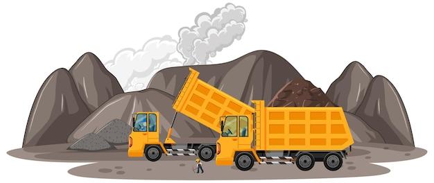 Cena de mineração de carvão com caminhões de construção