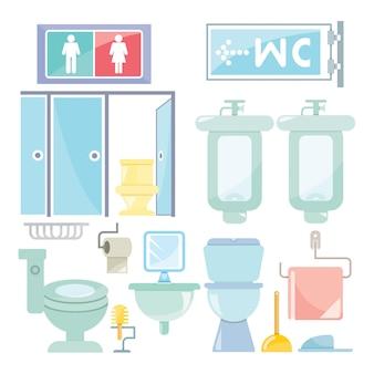 Cena de móveis de banheiro e banheiro