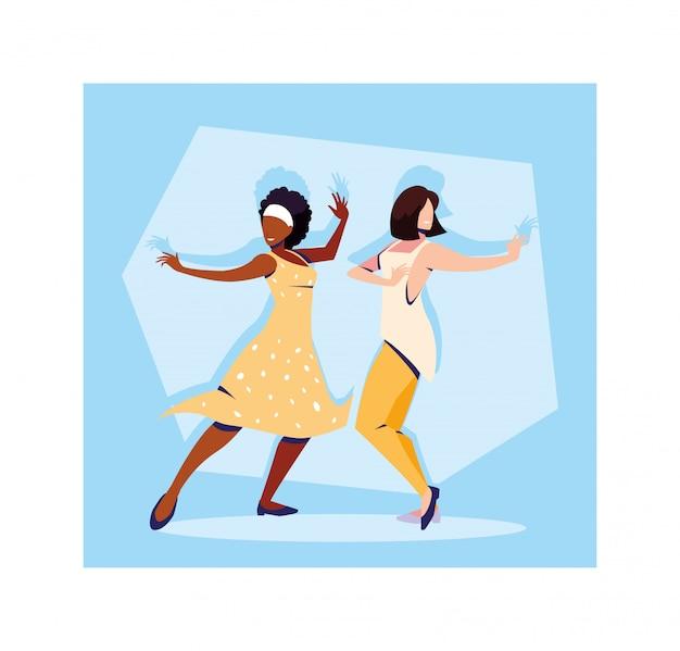 Cena de mulheres em pose de dança, festa, clube de dança