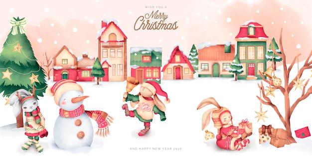Cena de natal bonita com cidade de inverno e personagens