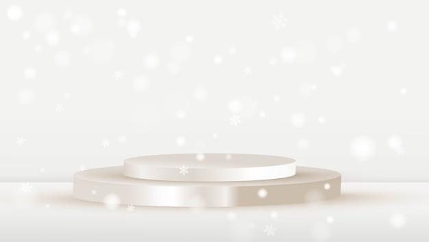 Cena de natal com pódio branco.