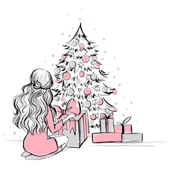 Cena de natal com presentes