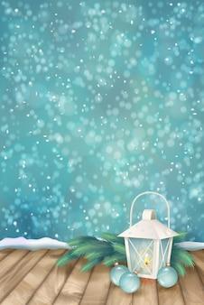 Cena de natal de inverno com galhos de pinheiros e lanterna no chão de madeira