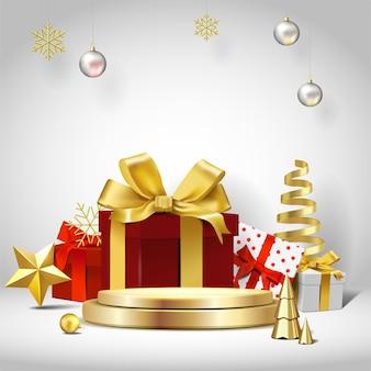 Cena de natal elegante. forma de pódio para mostrar a exibição do produto. pedestal ou plataforma de palco. 3d realista